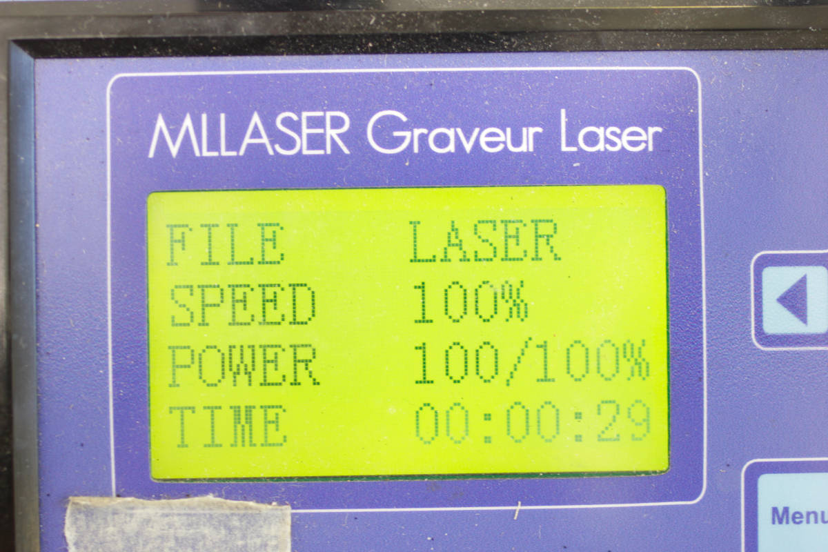 command screen of laser machine